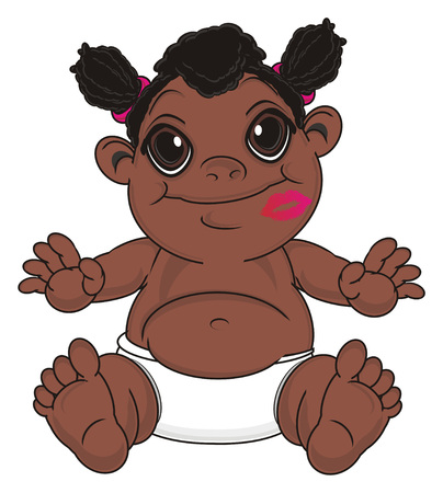 funny negro baby girl with kiss on her face sit Stock Photo
