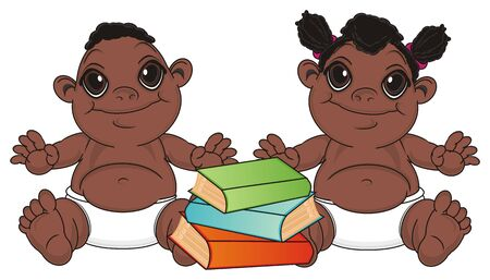 multiple birth: baby boy and girl sit near the many colored books