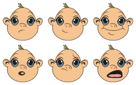 multiple birth: many faces of baby boys with different emotions