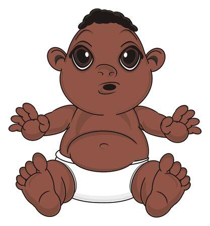 surprise negro baby boy sit