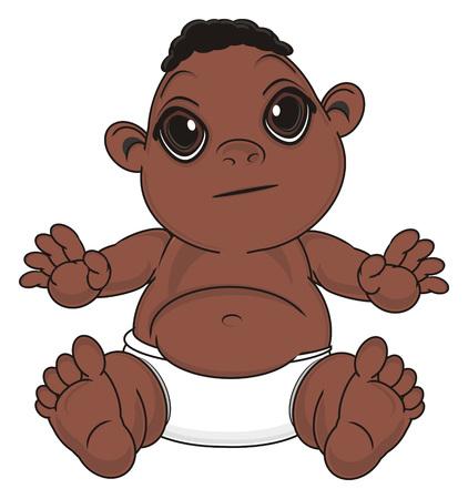 negro baby boy sit without any emotion Stock Photo