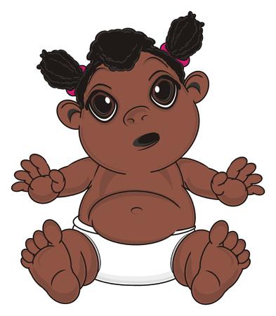 surprise negro baby girl sit Stock Photo