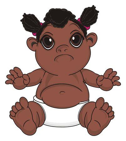 sad negro baby girl sit