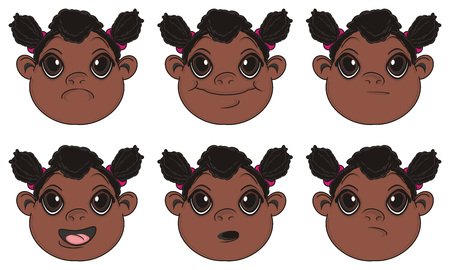 multiple birth: many faces with different emotions of negro baby girl