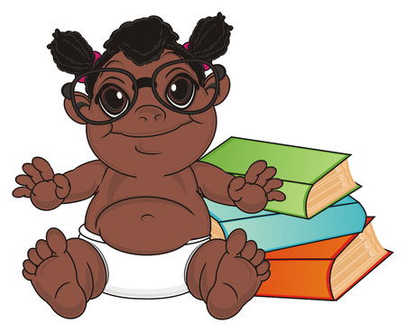 multiple birth: happy baby girl in glasses sit with many books Stock Photo