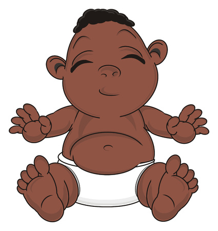cute negro baby boy sit with closed eyes Stock Photo