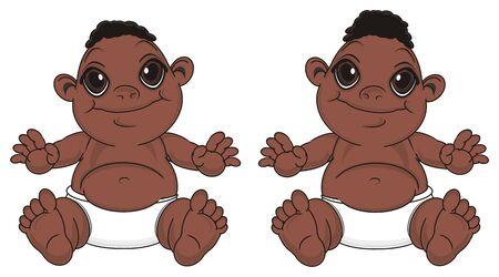 twins of baby boys Stock Photo