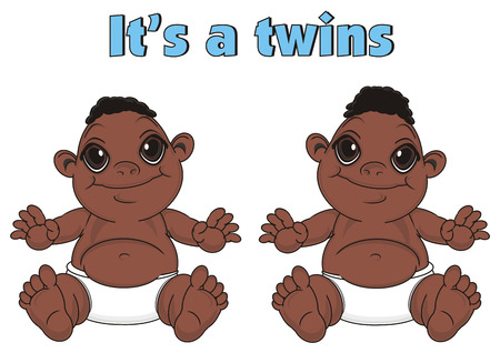 pair of  baby boys with inscription its a twins Stock Photo