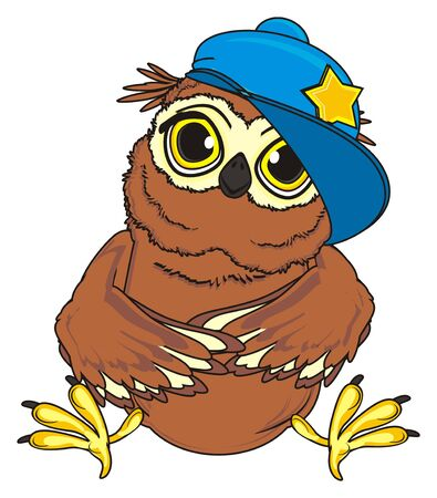 owl in blue cap sit