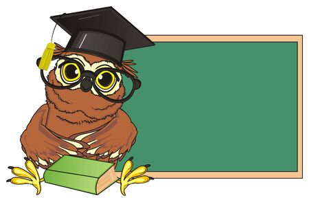 owl in glasses and hat with book sit near clean board