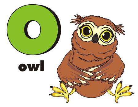 owl sit with letter o and word owl Stock Photo