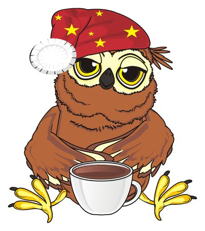 tired owl in hat sit with large cup of coffee Stock Photo