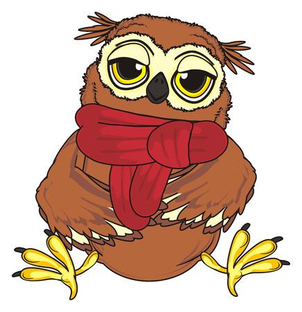sleepy owl in red scarf sit