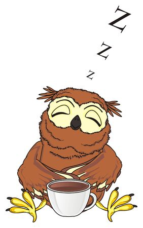 sleeping owl sit with cup of coffee and signs z fly Stock Photo