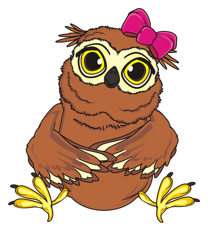 cute owl girl with pink bow sit