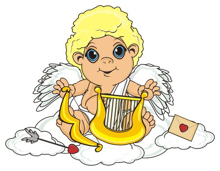 Cupid Sit On The Sky Around Of Many Symbols Stock Photo Picture And