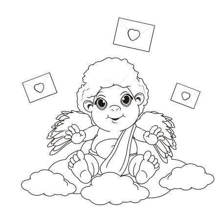 Colorear Cupido Sentarse En El Cielo Y El Corazón Volar Alrededor ...