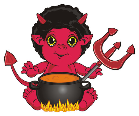 red devil sit with trident near the pumpkin