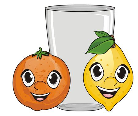 happy faces of citrus fruits with empty glass
