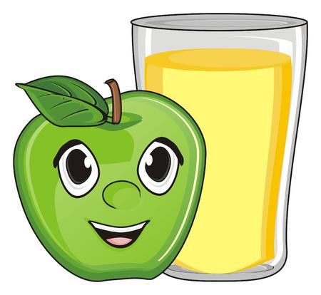 blij gezicht van appel met vol glas sap