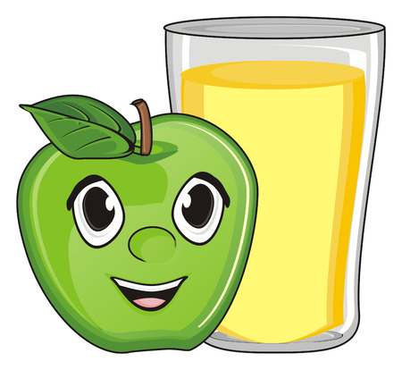 happy face of apple with full glass of juice Фото со стока
