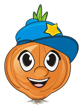 smiling face of onion in blue cap