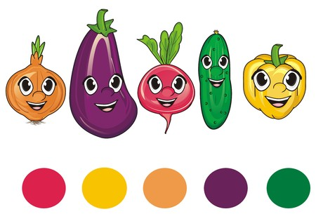 rounds: smiling faces of vegetables with rounds colors