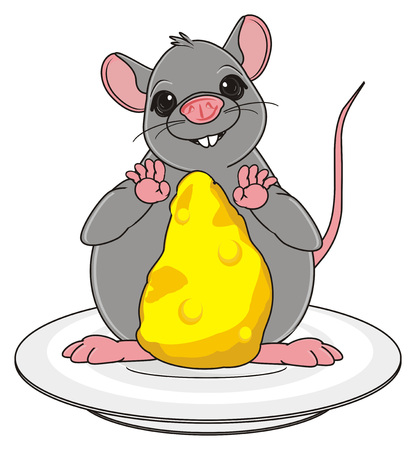 the wrecker: fat rat with cheese stand on the plate Stock Photo