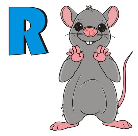 squeak: rat stand with large blue letter r Stock Photo