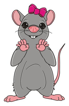 Graues Rattenmädchen mit rosa Bogenstand Standard-Bild - 75739870