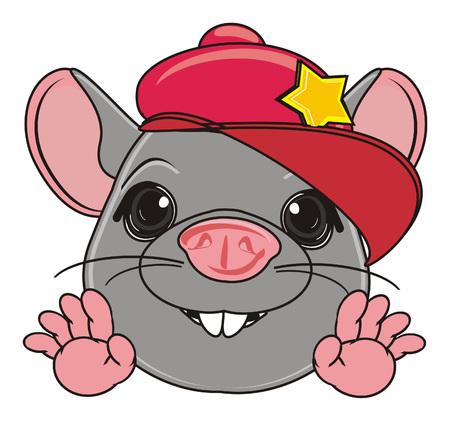 squeak: snout of rat in red cap