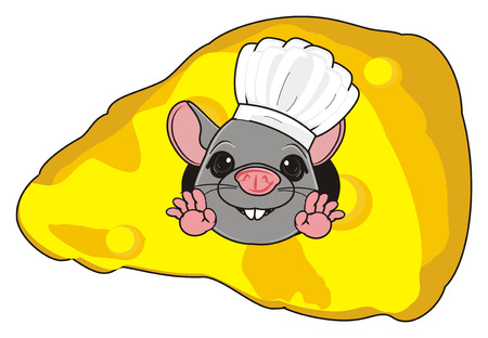 the wrecker: snout of rat in cooking hat peek up from cheese