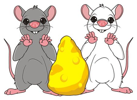 the wrecker: two rats stand with large peace of cheese Stock Photo