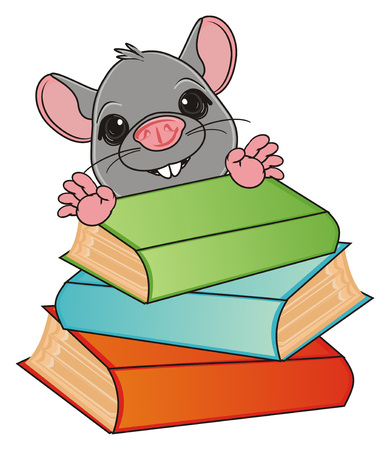 the wrecker: muzzle of rat peek up from colored books Stock Photo