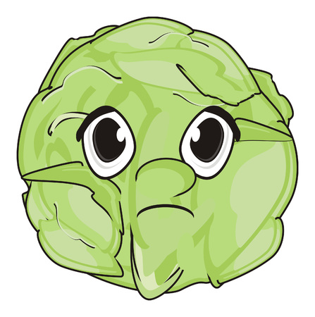 un cook: sad face of cabbage