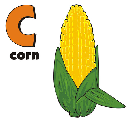 corne: corn with inscription corn and sign c