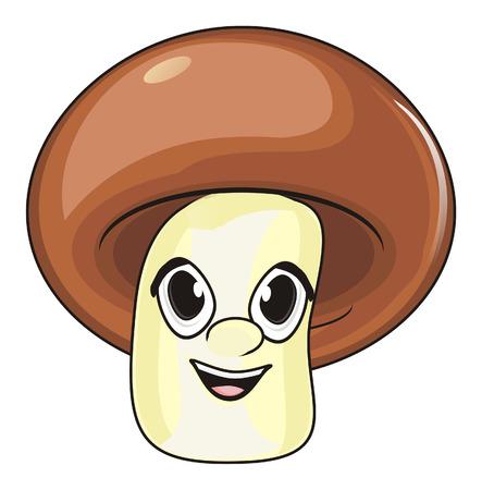 champignon: smiling face of mushroom Stock Photo