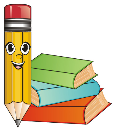 happy face of pencil with three colored books