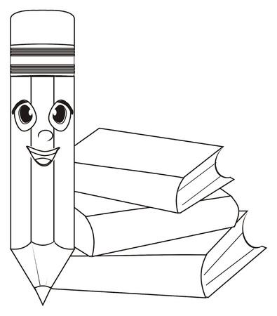 Färbung Bleistift mit einem Bücher Standard-Bild - 76194100