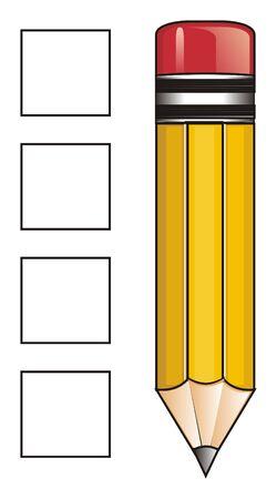 Gelber Bleistift und saubere Quadrate Standard-Bild - 76194108