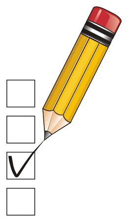 Gelber Bleistift und Häkchen auf den Plätzen Standard-Bild - 76194105