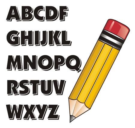 Gelber Bleistift und schwarzer ABC Standard-Bild - 76194110