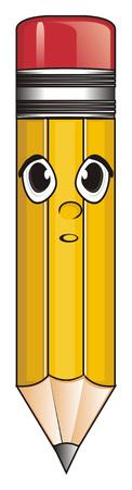 Berraschung Gesicht der gelben Bleistift Standard-Bild - 76194114