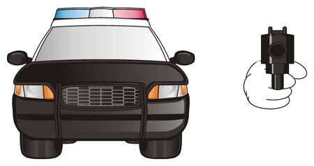 flashers: black police car with pistol Stock Photo