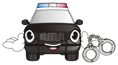 flashers: happy police car hold a metal handscuffs Stock Photo
