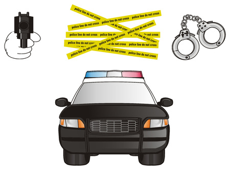 can not: black police car with different police stuffs Stock Photo