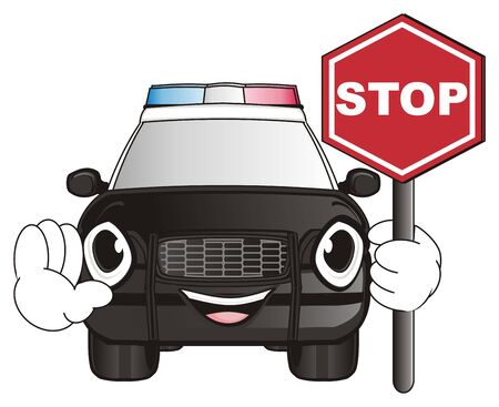 flashers: happy police car hold a red road sign stop