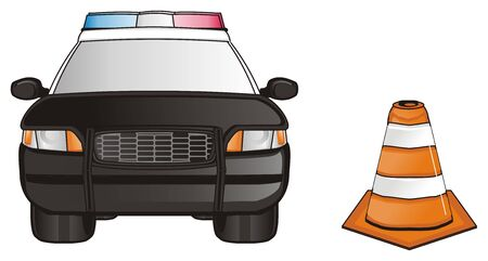 flashers: black police car with orange cone