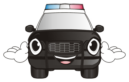 flashers: happy face of polica car with hands Stock Photo