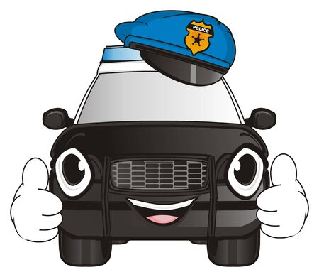 happy face of police car in blue hat show gesture class